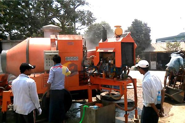 HBT15 CONCRETE MIXER WITH PUMP IN MYANMAR