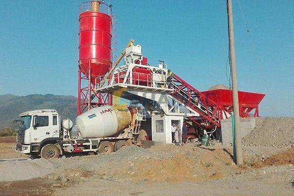 YHZS50 Mobile Concrete Batching Plant in Myanmar