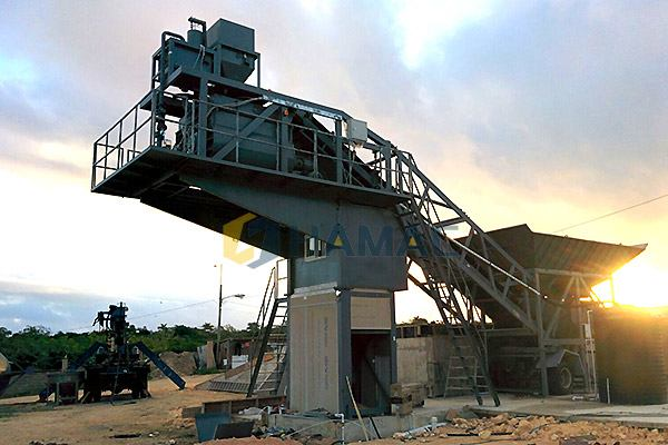 YHZS75 Mobile Concrete Batching Plant in Jamaica