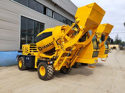 Hamac HMC150 self loading concrete mixer delivering to the Middle East